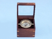 Solid Brass Lifeboat Compass w/ Rosewood Box 5""