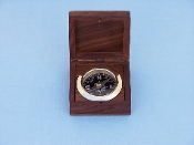 Solid Brass Black Desk Compass w/ Rosewood Box 3""