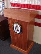 PODIUM, QUARTERDECK EQUIPMENT, NAVY, BOSN, BOATSWAIN'S MATE, ORAMA, ORAMA'S NAUTICAL, NAUTICAL, SHIP, MARINE CORPS, COAST GUARD, AIR FORCE, U.S. NAVY, LECTURN, SHIPBOARD, WOOD