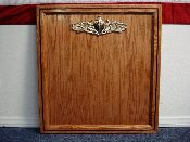 SURFACE WARFARE OFFICER'S BOARD W/ BRASS SWO INSIGNIA - OAK
