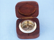 Brass Desk Compass w/ Rosewood Box 3""