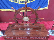 BEAUTIFUL SHIP'S WHEEL FLAG STAND